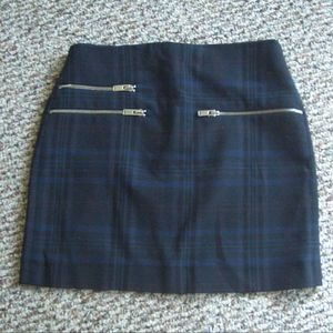 Zara plaid exposed zip moto mini skirt XS